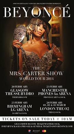 Beyoncé - The Mrs Carter Show - 2014 UK Tour Poster