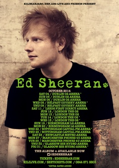 Ed Sheeran 2014 UK Tour Poster